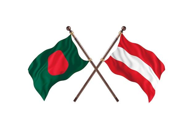 Bandiere del bangladesh contro l'austria background