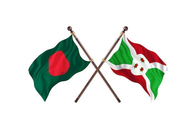 Sfondo di bandiere del bangladesh contro il burundi Foto Premium