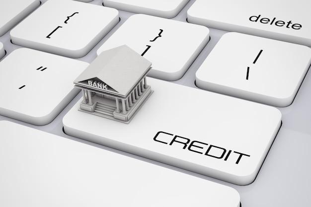 Costruzione della banca sopra la tastiera del computer con il primo piano estremo del segno di credito. rendering 3d.