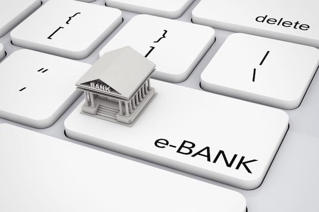 Costruzione della banca sopra la tastiera del computer con il primo piano estremo del segno della e-banca. rendering 3d.