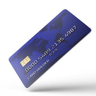 Carta di credito inclinata rispetto alla telecamera. carta di credito in posizione verticale su uno sfondo bianco. numero di carta fittizia. visualizzazione 3d