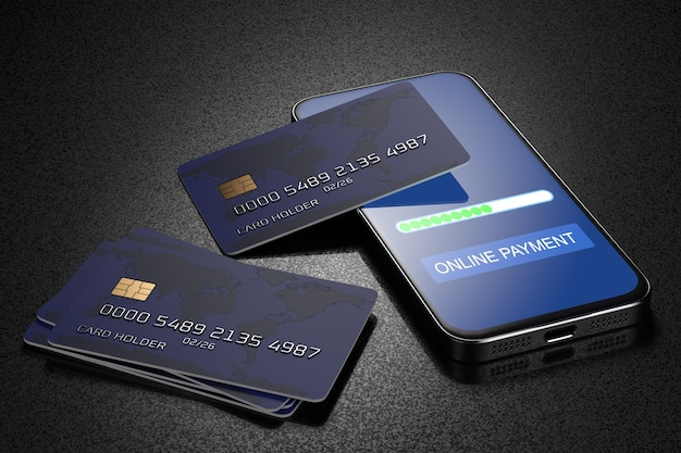 Carte bancarie su uno smartphone. paga con il tuo smartphone. e-commerce, e-commerce, concetti di pagamento mobile. elementi grafici moderni. 3d reso.