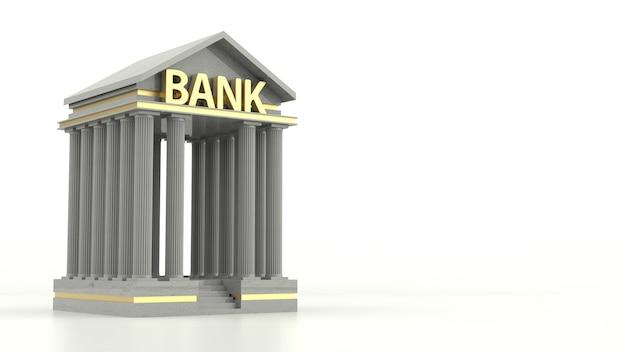Icona della banca isolati su sfondo bianco. rendering 3d