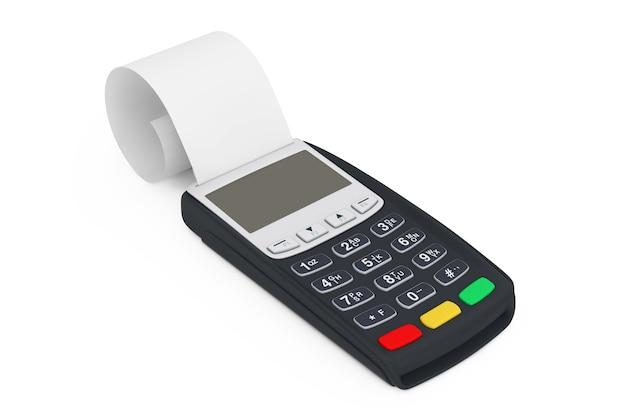 Terminale di banca registratore di cassa pos macchina per il pagamento con nastro di cache arrotolato bianco su sfondo bianco. rendering 3d