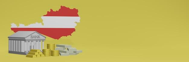 La banca con monete d'oro in austria per i social media tv e le copertine dello sfondo del sito web può essere utilizzata per visualizzare dati o infografiche nel rendering 3d.