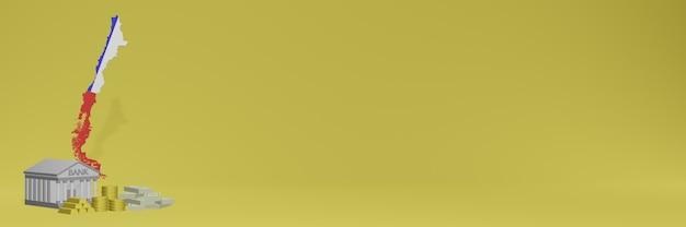 La banca con monete d'oro in cile per social media tv e copertine di sfondo del sito web può essere utilizzata per visualizzare dati o infografiche nel rendering 3d.