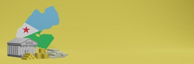 La banca con monete d'oro a gibuti per social media tv e copertine di sfondo del sito web può essere utilizzata per visualizzare dati o infografiche nel rendering 3d.