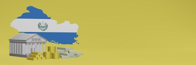 La banca con monete d'oro a el savador per social media tv e copertine di sfondo del sito web può essere utilizzata per visualizzare dati o infografiche nel rendering 3d.