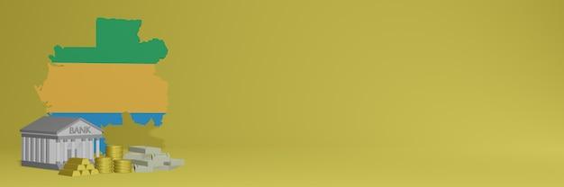 La banca con monete d'oro in gabon per social media tv e copertine di sfondo del sito web può essere utilizzata per visualizzare dati o infografiche nel rendering 3d.