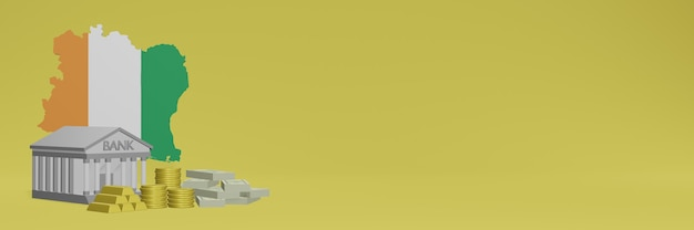 La banca con monete d'oro in costa d'avorio per social media tv e copertine di sfondo del sito web può essere utilizzata per visualizzare dati o infografiche nel rendering 3d.