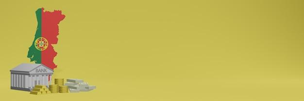 La banca con monete d'oro in portogallo per social media tv e copertine di sfondo del sito web può essere utilizzata per visualizzare dati o infografiche in rendering 3d