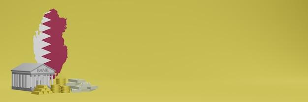 La banca con monete d'oro in qatar per social media tv e copertine di sfondo del sito web può essere utilizzata per visualizzare dati o infografiche nel rendering 3d.