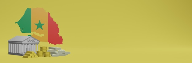 La banca con monete d'oro in senegal per social media tv e copertine di sfondo del sito web può essere utilizzata per visualizzare dati o infografiche nel rendering 3d.