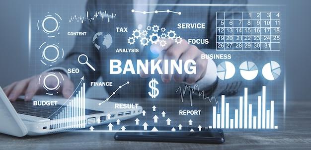 Banche e pagamenti. grafici e grafici. attività commerciale. internet. tecnologia