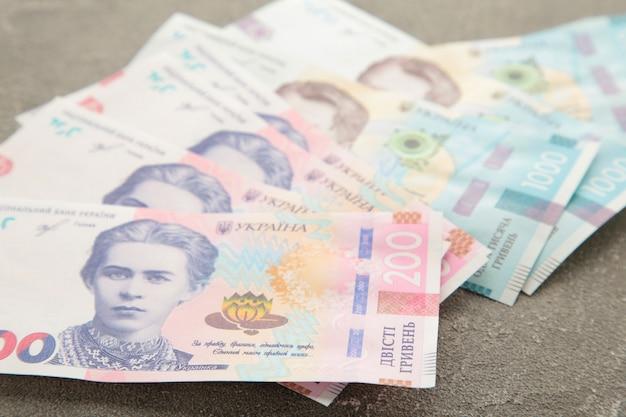 Banconote ucraina grivna su grigio