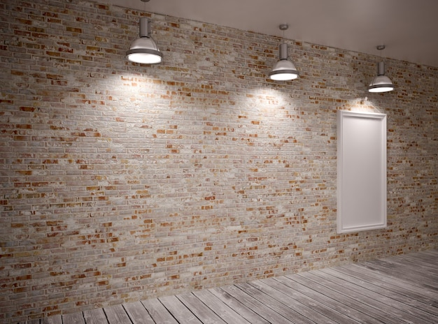 Banner sul muro di mattoni con lampade