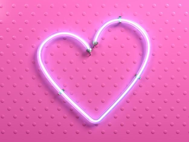 Banner pop art cuore rosa neon