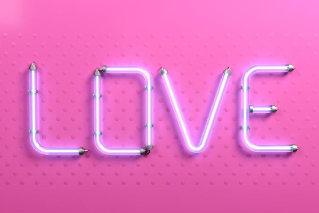 Banner pop art parola amore rosa neon