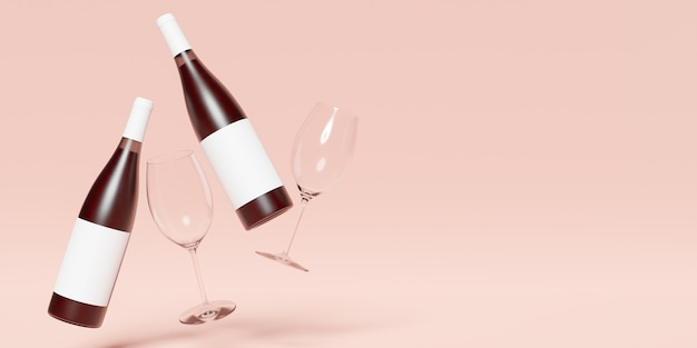 Banner di due bottiglie di vino sospese in aria con etichette vuote e due bicchieri di vino accanto. copia spazio. rendering 3d