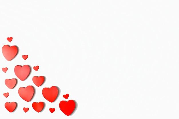Banner con cuori rossi. posto di biglietto di auguri di san valentino per il testo.