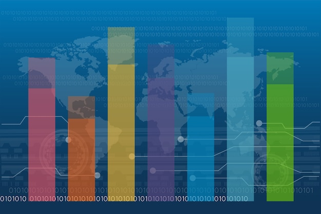 Grafico a barre diagramma grafico statistica business annual report colorato