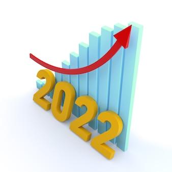 Grafico a barre con parola 2022 e freccia crescente. rendering 3d