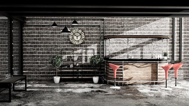 Bar in stile loft, interni in stile bar. rendering 3d