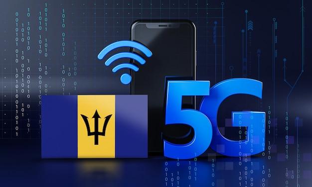 Barbados pronte per il concetto di connessione 5g. sfondo di tecnologia smartphone rendering 3d