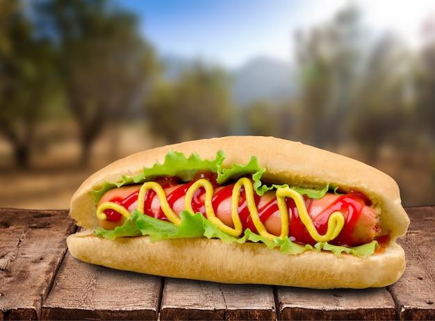Hot dog alla griglia con barbecue con senape gialla sullo sfondo