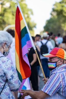 Barcellona, spagna; 22 luglio-2021: manifestazione contro la violenza lgtbifobica