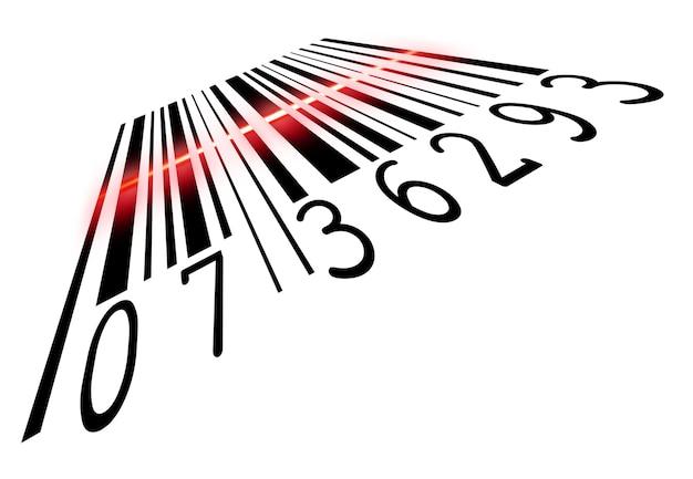 Codice a barre scansionato dal lettore di codici a barre un'illustrazione di acquisto vendita