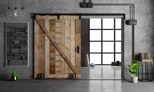 Fienile porta scorrevole in legno nella stanza del sottotetto