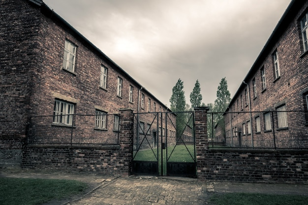 Caserma della prigione tedesca auschwitz ii, birkenau, polonia.