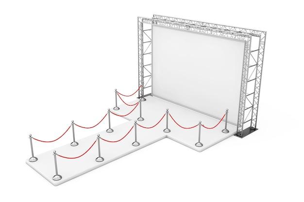 Corda di barriera intorno all'insegna all'aperto di pubblicità in bianco sul sistema di costruzione della capriata del metallo con il podio vuoto su un fondo bianco. rendering 3d