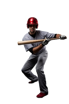 Giocatore di baseball in uniforme rossa ,.