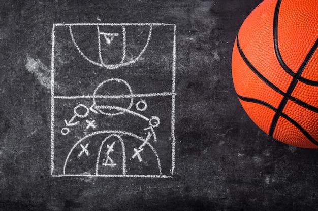 Palla basket su una lavagna