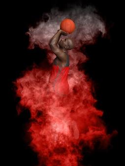 Il giocatore di basket spara in fumo rosso