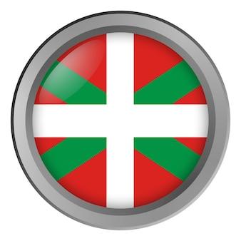 Primo piano della bandiera basca rotonda come un pulsante