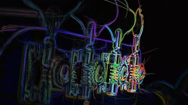 Piroli per accordatura per basso. pittura al neon di colore astratto.
