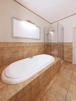 Bagno con doccia nell'interno classico del bagno nei colori arancioni. rendering 3d