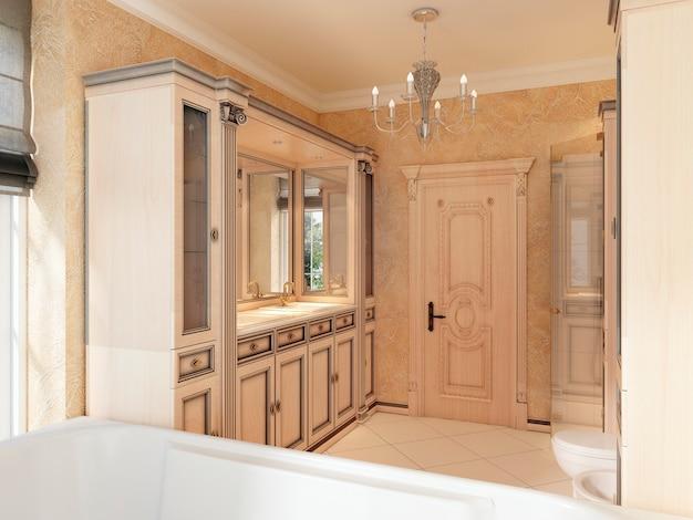 Bagno in stile classico con ampia finestra e mobile bagno in legno. bagno nei toni del giallo e dell'arancione. rendering 3d.