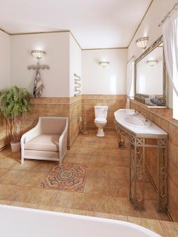 Bagno in stile classico con impianto idraulico moderno e mobili con vaso di fiori. rappresentazione 3d.
