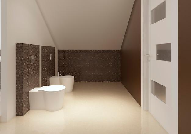 Bagno in stile contemporaneo nei colori marrone e bianco. rendering 3d.
