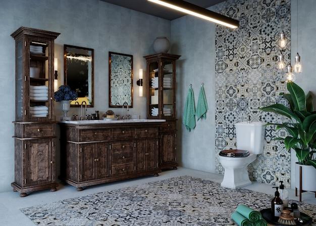 Design del bagno con mobili e pavimento in ceramica