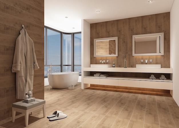 Design del bagno con mobili e pavimento in legno