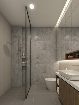 Interior design del bagno. rendering 3d
