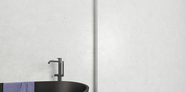 Interno del bagno con vasca e pareti bianche