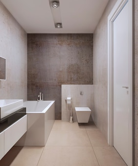 Bagno in stile minimalista con mobili di colore bianco e pareti in cemento