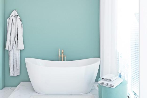 Mockup di bagno in colore blu