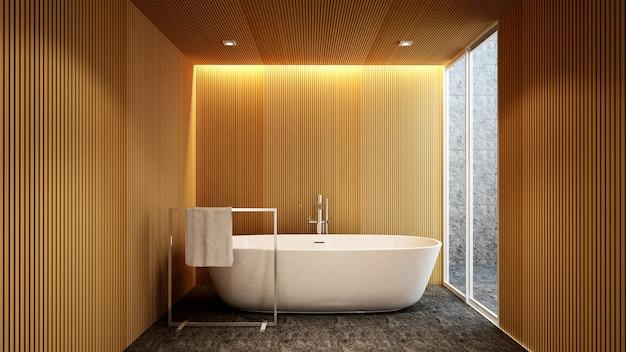 Bagno e vista esterna per opere d'arte di hotel o appartamento